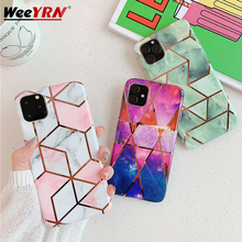 Geometric Marble Case For iPhone 11 Pro MAX 2019 Plating Soft Silicone TPU IMD Phone Cover