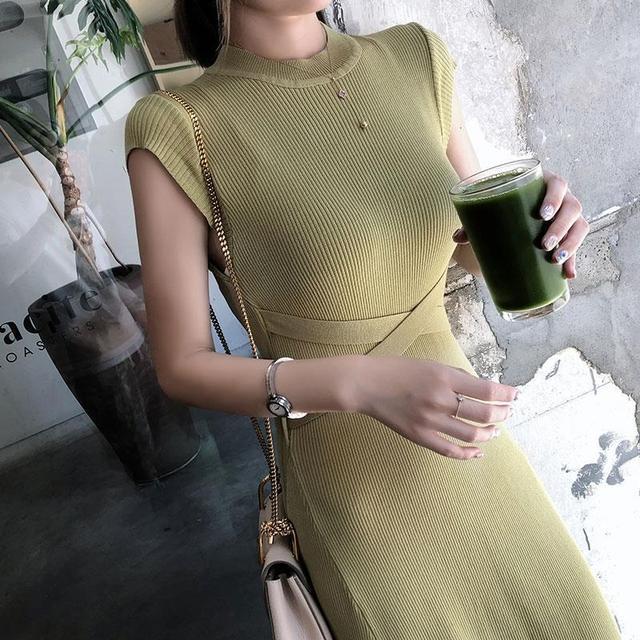 2020 Summer Korean Women Bodycon Robe Knitted Maxi Dress Elegant Ladies Slim Sweater Sleeveless Long Party Dresses Vestidos S84 3