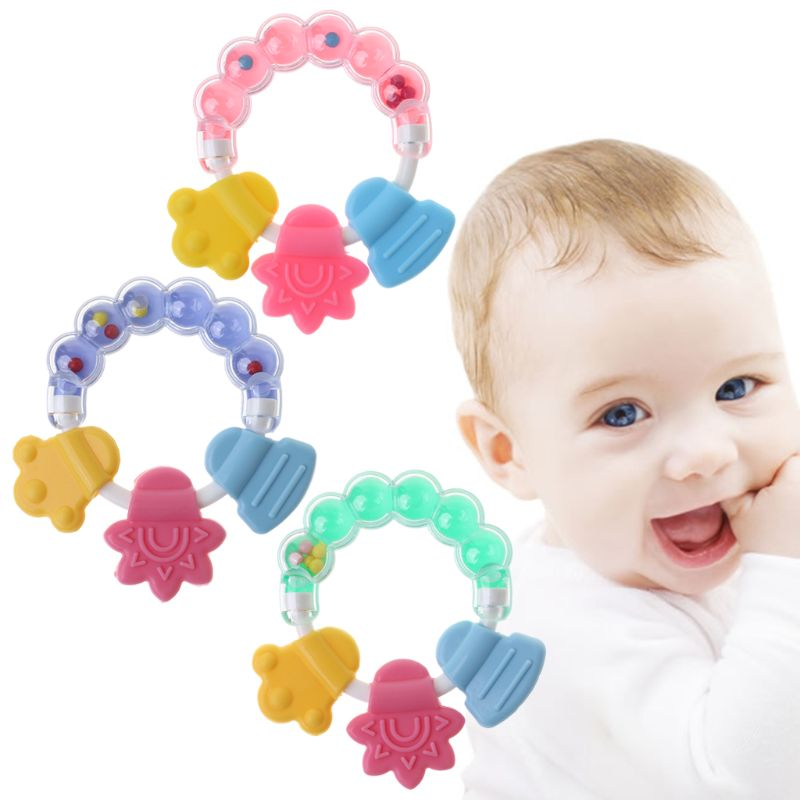 Baby Teether Bell Toys Silicone Shake Sound Educational Rattle Jingle Teething