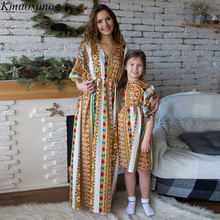 Autumn 2019 Mommy and me clothes Mom and Daughter Dress Half Sleeve V-neck Vintage Print Long Dress Matching Outfits C0524 mommy and me denim long sleeves matching dress