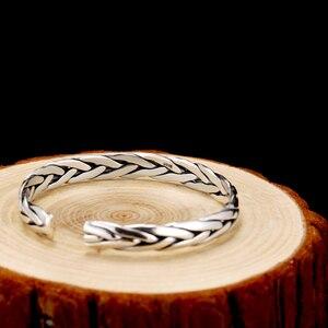 Image 3 - ZABRA pulsera abierta de plata de ley 999 trenzada para amantes, Unisex, joyería Retro para el Día de San Valentín