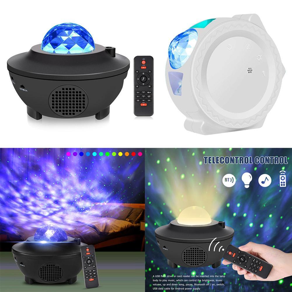 Projetor de galáxia estrelada colorido, controle de voz usb, tocador de música, luz noturna de led, carregamento usb, lâmpada para crianças