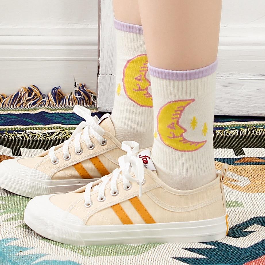 Harajuku Girl Wind High Rubber Skateboard Socks Cotton Women Socks Candy Color Contrast Moon Socks Girls