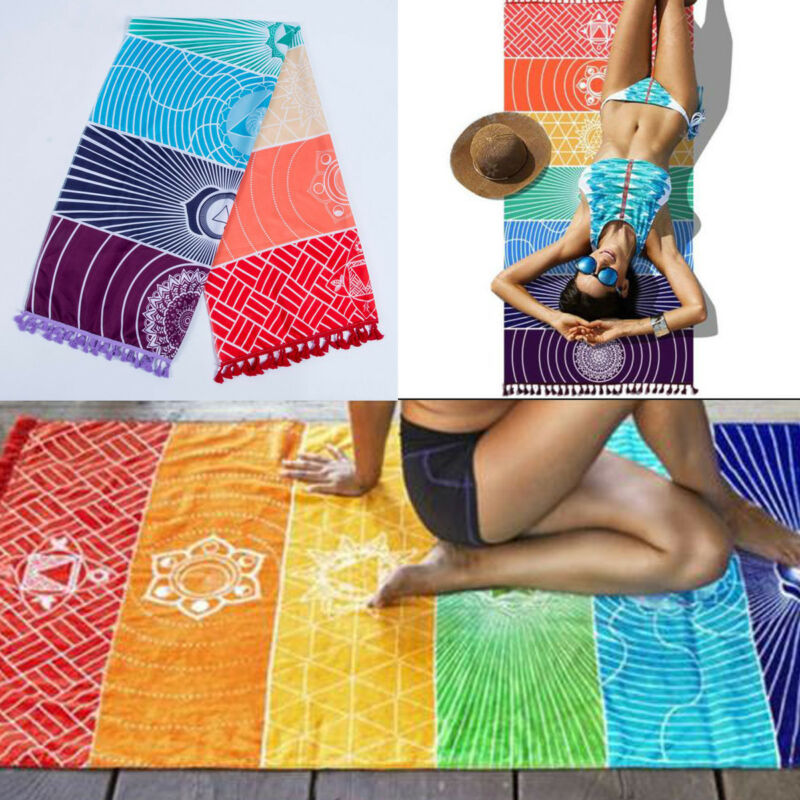 Poliéster Bohemia pared colgante India Mandala manta 7Chakra color tapiz Arco Iris rayas viaje verano playa Yoga estera