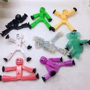 Image 3 - 1 sztuk przyklejony Robot zabawki figurki akcji z Sucker plastikowe chłopca Playhouse śmieszne odkształcalne Stickbot zabawki dla dzieci prezenty bożonarodzeniowe