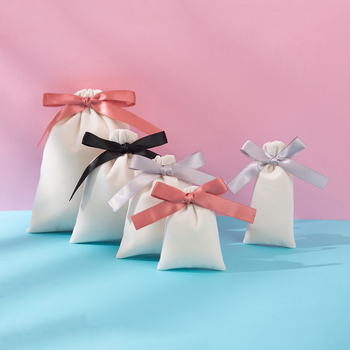 50pcs/lot Jewelry Gift  Velvet Bag with Ribbon 7x9cm 10x12cm 12x15cm Eyelashes Makeup Lipstick Flannel Cotton Drawstring Pouches