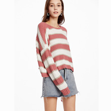 Short Striped Sweater Women Pullovers Batwing Sleeve Loose O-neck Tops 2019 Autumn All-match knitted Sweaters Female Clothing xiaying smile women maternity dress female fashion all match boat neck sexy loose embroidery striped short dresss long sleeve