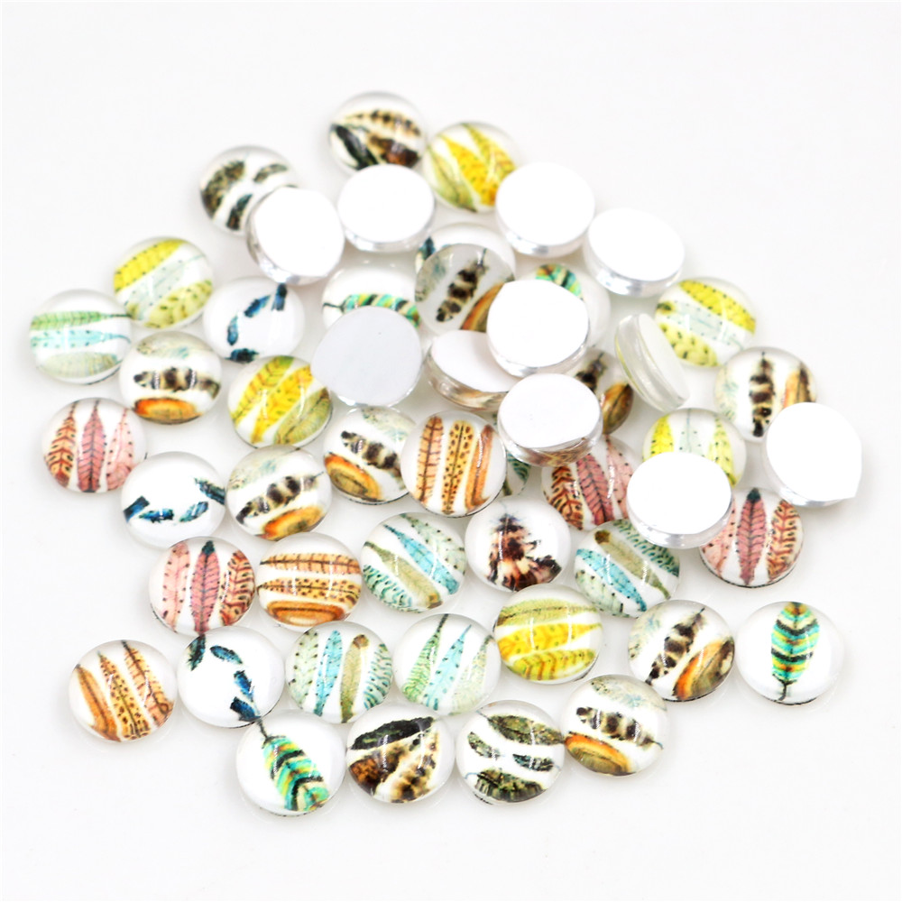 Hot Sale 50pcs 8mm And 10mm 12mm Feather wings Mixed Handmade Glass Cabochons Pattern Domed Jewelry Accessories Supplies