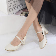 Girls' Leather Shoes New 2020 autumn Women Shoes Mary Jane Ladies High Heels White Wedding Shoes Thick Heel Pumps Lady Shoes(China)