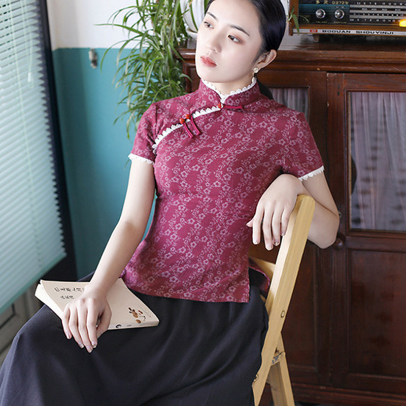 Hung Rhyme Dream 2019 New Products Cotton Linen Jacquard Improved Cheongsam Set Retro Literature And Art-Style GIRL'S Cheongsam