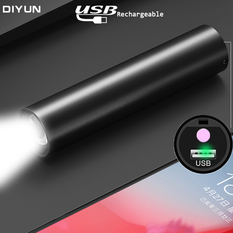 USB Rechargable Mini LED Flashlight Built-in Battery 3 Lighting Mode WaterproofTorch  Stylish Portable Suit For Night Lighting
