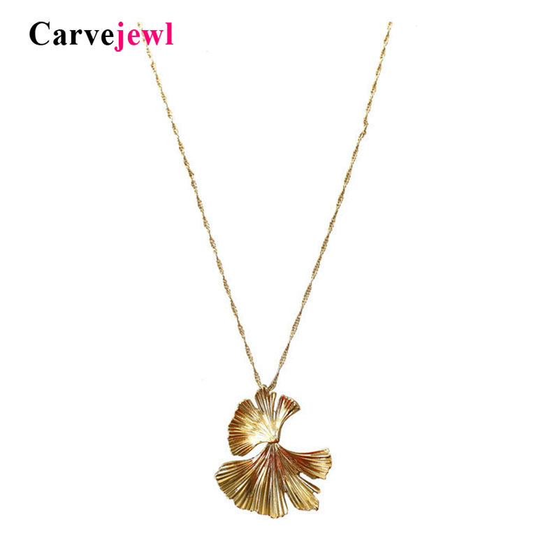 Carvejewl high quality Ginkgo Biloba Leaves Pendant short Necklace for women girl Jewelry simple metal new Collier Femme jewelry