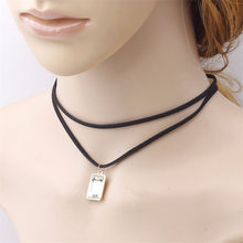 Fashion Square Pendant Necklace Women Jewelry Personalized Double-layer Choker Statement Necklace Chokers Necklaces For Women(China)