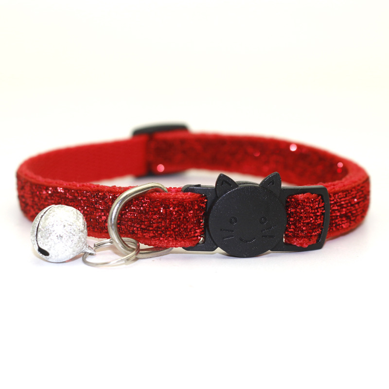 head affixed cloth bell safety clasp dog small dogs proprietary sequins collar with glitter fabric belt manufacturer