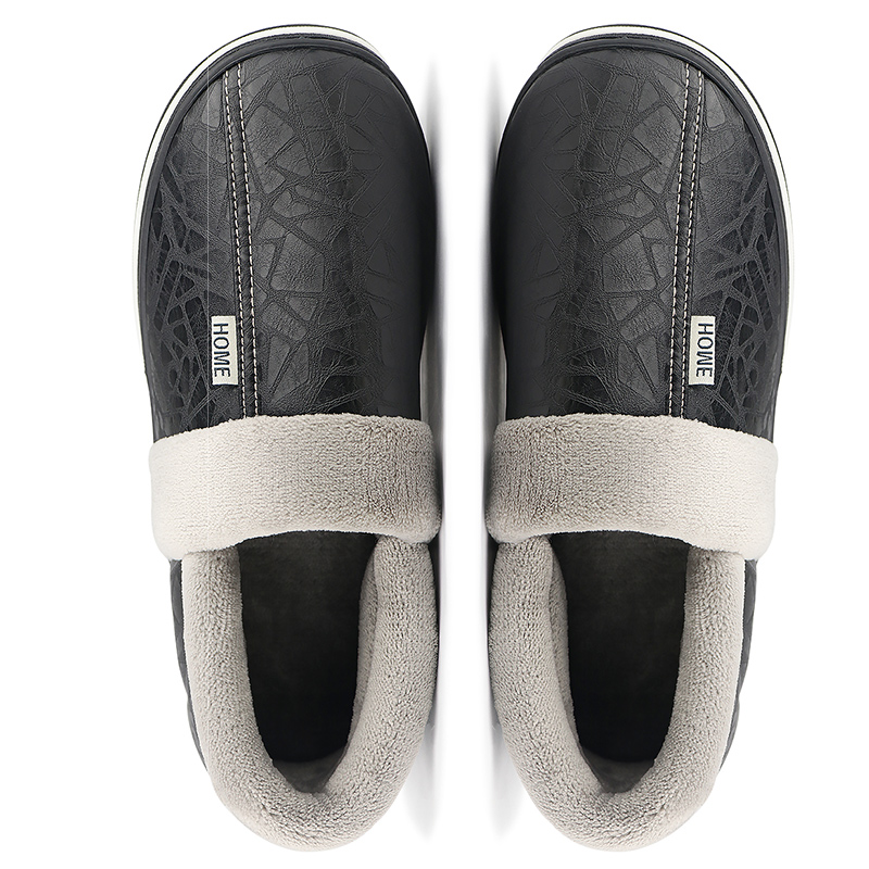 Slippers Women Leather Waterproof 2019 New Winter Slippers Women Anti Dirty Plush Shoes Ladies Non-slip Big Size 40-50