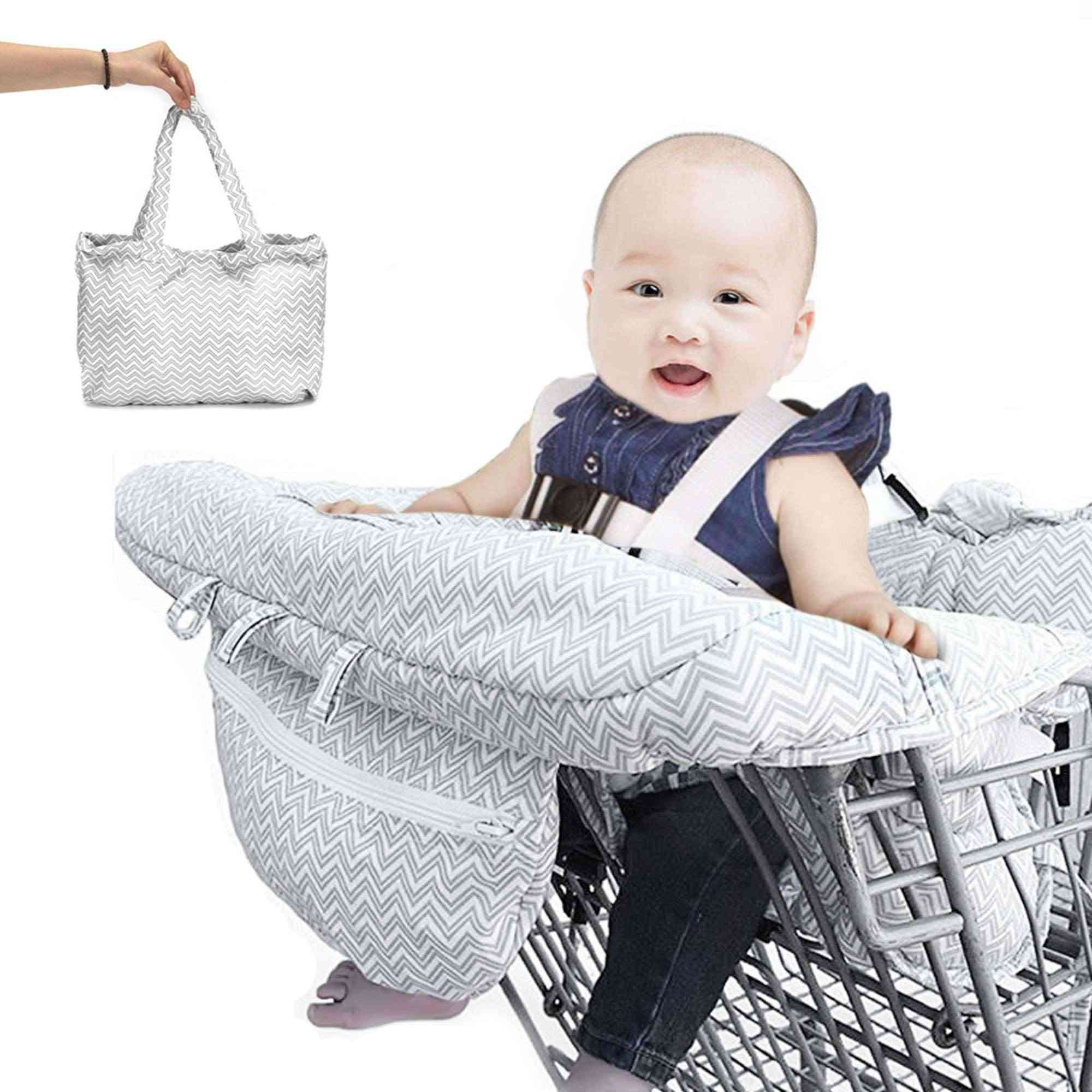 Foldable Baby Shopping Cart Covers Protection Polyester Trolley Soft Pad Infant Dining High Chair Seat Cushion with Safety Belt
