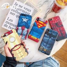 Luxury Marvel Phone Cover For iPhone 7 Superman Batman Iron man Spiderman Soft TPU Case 6 6s 8 Plus X XS MAX