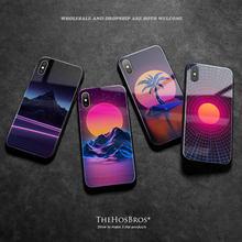 Неоновый красочный чехол synthwave в стиле ретро 80 х для iphone