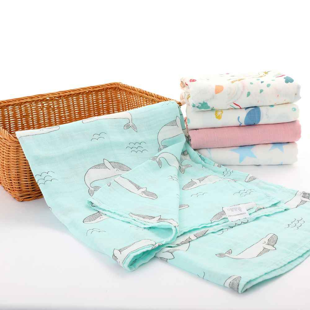 70% Bamboo Muslin Swaddle Blanket baby Gauze Bath Towel Sleeping Bed Supplies Hole Wrap Infant Baby Warp Animals Bed Sheet