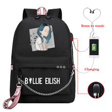 Billie Eilish Funny Girls Backpack Harajuku Bad Guy Graphic School Bag Kawaii 90s Hip Hop Schoolbag with Usb Charging Bagpack