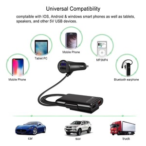 Image 5 - NOHON QC 3.0 Front and Rear Car Charger For iPhone 11 Pro Max Mobile Phone Charge in Car For Xiaomi Samsung with Extension Cable