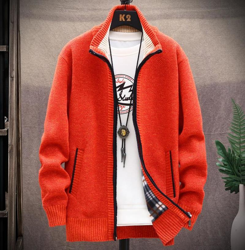 2020 New Winter Thick Mens Knitted Sweater Coat Long Sleeve Cardigan Fleece Full Zip Mens Casual Plus Size Clothing Sweaters