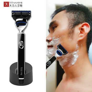 Titan safety Razor Shave Smooth, 5 razor blade , metal handle for shaving men shaving - DISCOUNT ITEM  22 OFF Beauty & Health