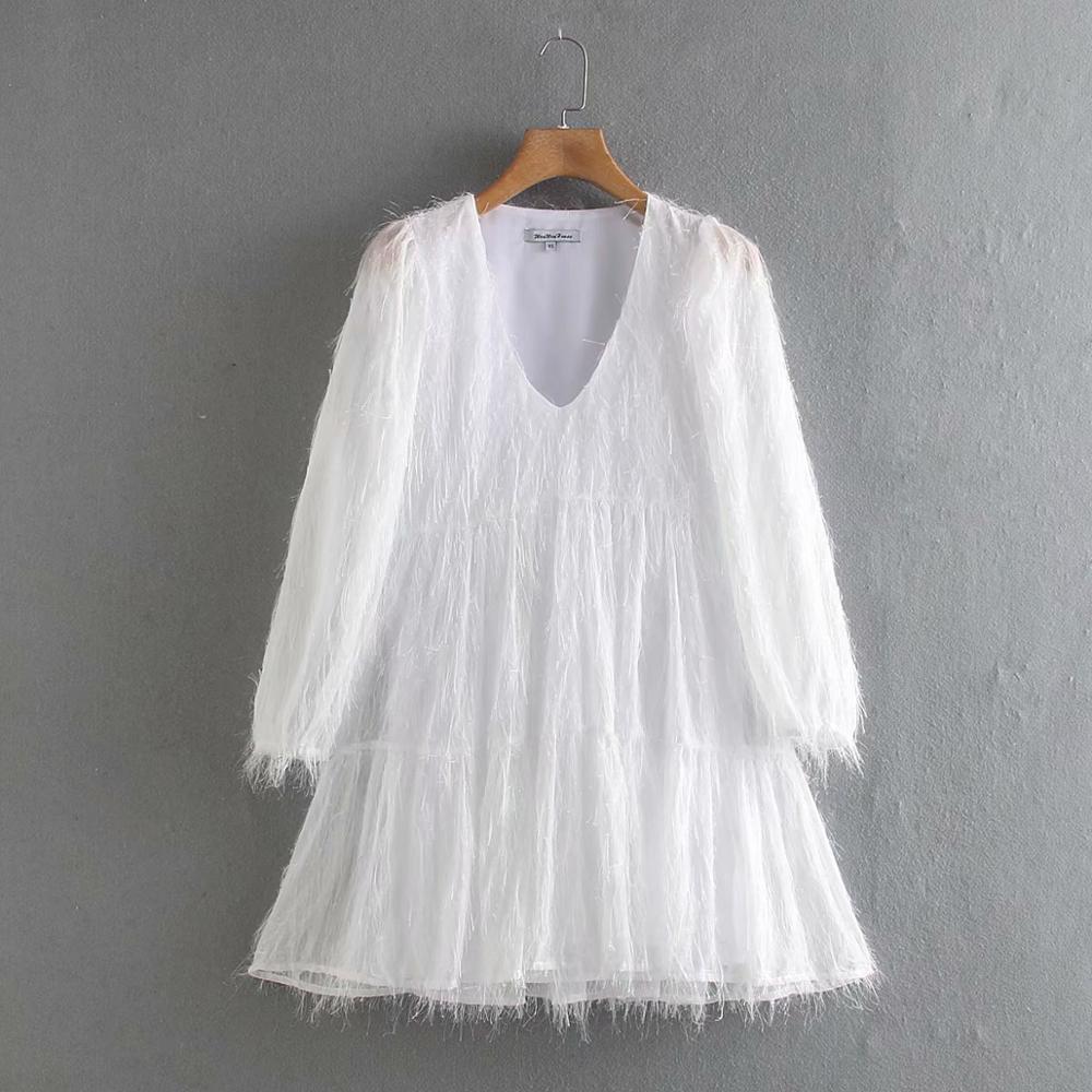 2020 Women elegant v neck tassel decoration metallic color casual mini Dress lady pleats vestidos chic straight Dresses DS3309