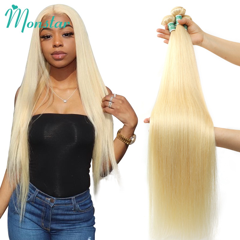 Monstar 1/3/4 613 Blonde Straight Hair Bundles Peruvian Remy Human Hair Extension Honey Blonde Bundles 8- 40 Inch Free Shipping