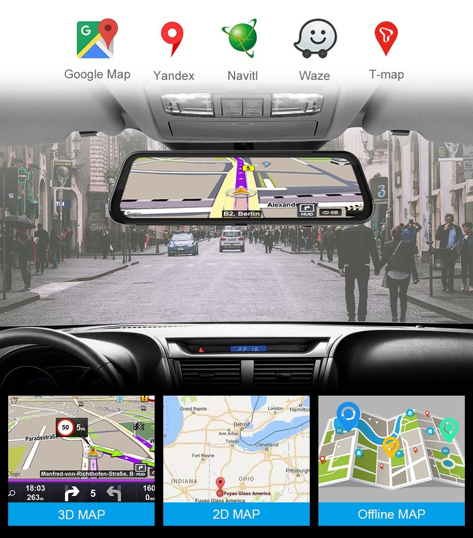4G Auto DVR 10 Android 8.1 Stream Rückspiegel FHD 1080P ADAS Dash Cam Kamera Video Recorder Auto kanzler Dashcam GPS DVRS - 5