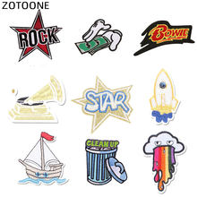 ZOTOONE parches bordados para camiseta Iron on Star Rocket velero parche rayas apliques ropa pegatinas de ropa insignias G(China)