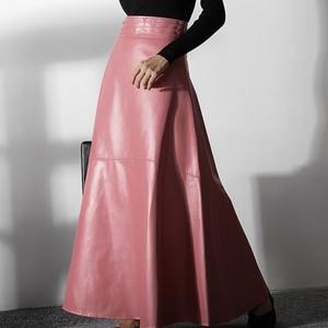 Image 2 - Mulheres elegante escritório rosa saia de couro 2020 moda alta cintura feminina inverno pu saias longas rua casual uma linha preto outono