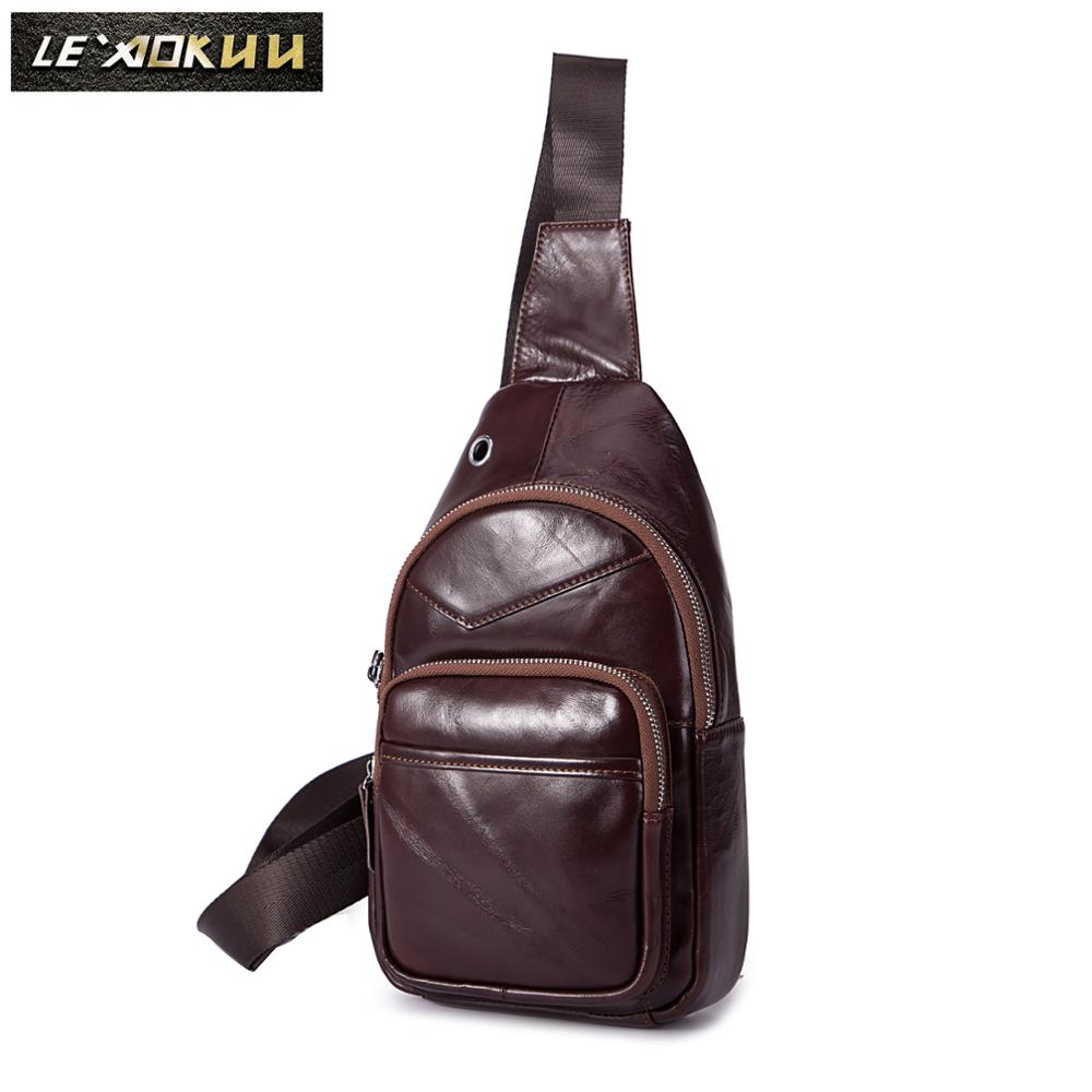 New Men Quality Leather Casual Fashion Triangle Crossbody Chest Sling Bag Design Travel One Shoulder Bag Daypack Male 8795