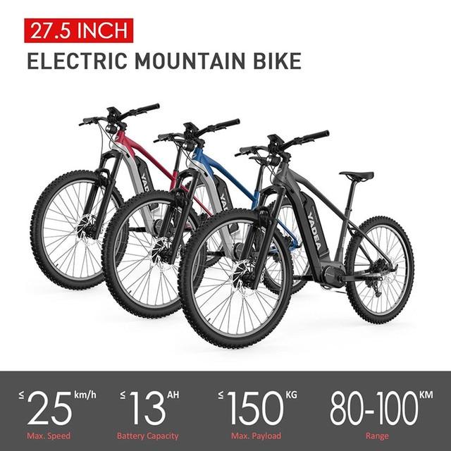 Pologne Stock YS500 vélo électrique 350W 27.5 pouces cyclomoteur 36V 13Ah batterie vélo 9 vitesses manette de vitesse Centre moteur conduite