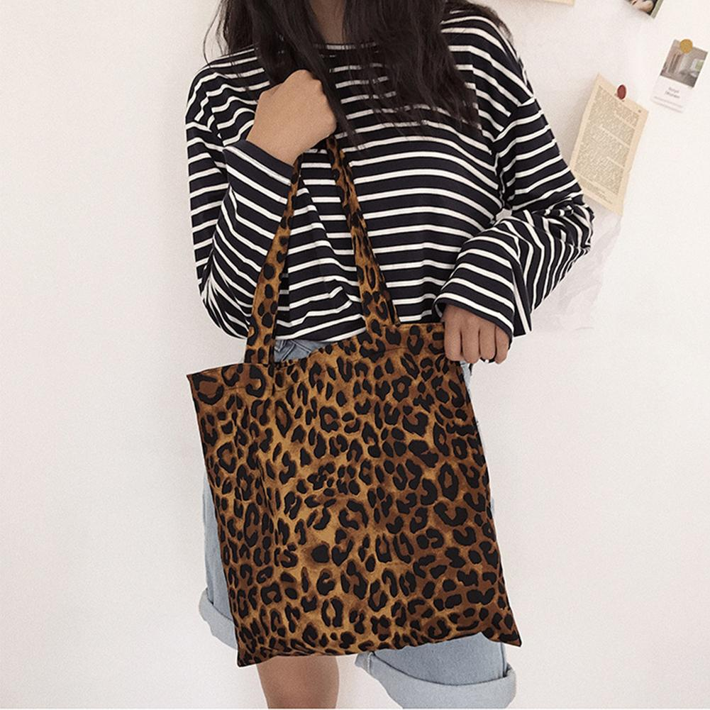 2020 Women Casual Bag Leopard Print Tote Single Shoulder Bag (Pure Cotton Large Capacity Handbags) Travel Shopping Cluch Bag