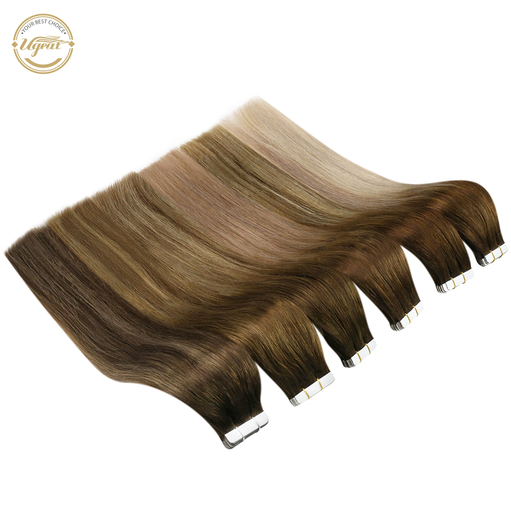 [HOT] Ugeat 12-24'' Tape in Hair Extensions 100% Human Hair 20pcs Machine Remy Seamless Invisible Skin Weft 2.5g/pcs 50G