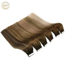 [Quente] ugeat 12-24 tape fita em extensões de cabelo 100% cabelo humano 20 pces máquina remy sem emenda invisível trama da pele 2.5 g/pçs 50g