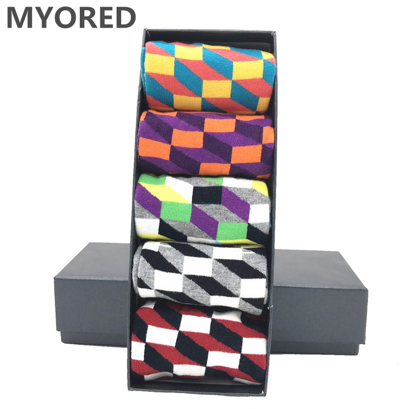 MYORED 5 Pair/lot Mens Socks Cotton Colorful Funny Crew Socks Long Vibrant Sock For Man Business Dress Wedding Gift Socks NO BOX