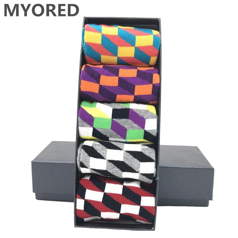 MYORED 5 Pair/lot Mens Socks Cotton Colorful Funny Crew Socks Long Vibrant Sock For Man Business Dress Wedding Gift Socks NO BOX