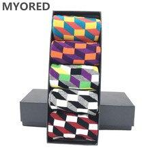 MYORED 5 pair/lot mens socks cotton colorful funny crew long vibrant sock for man business dress wedding gift NO BOX