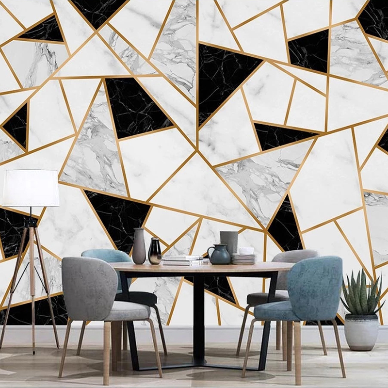 Us 16 88 Custom Photo Modern Creative Geometric Black White Marble Tv Background Wall Painting Living Room Decoration Mural Wallpaper 3d On
