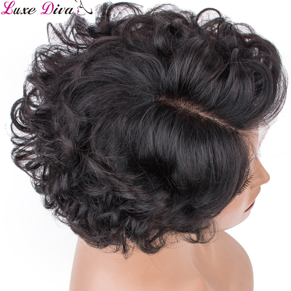 Luxediva Short Curly Hair Wigs Remy Brazilian Lace Part Wig 100% Human Hair Wigs 150% Only One Piece 6 Inch Wigs