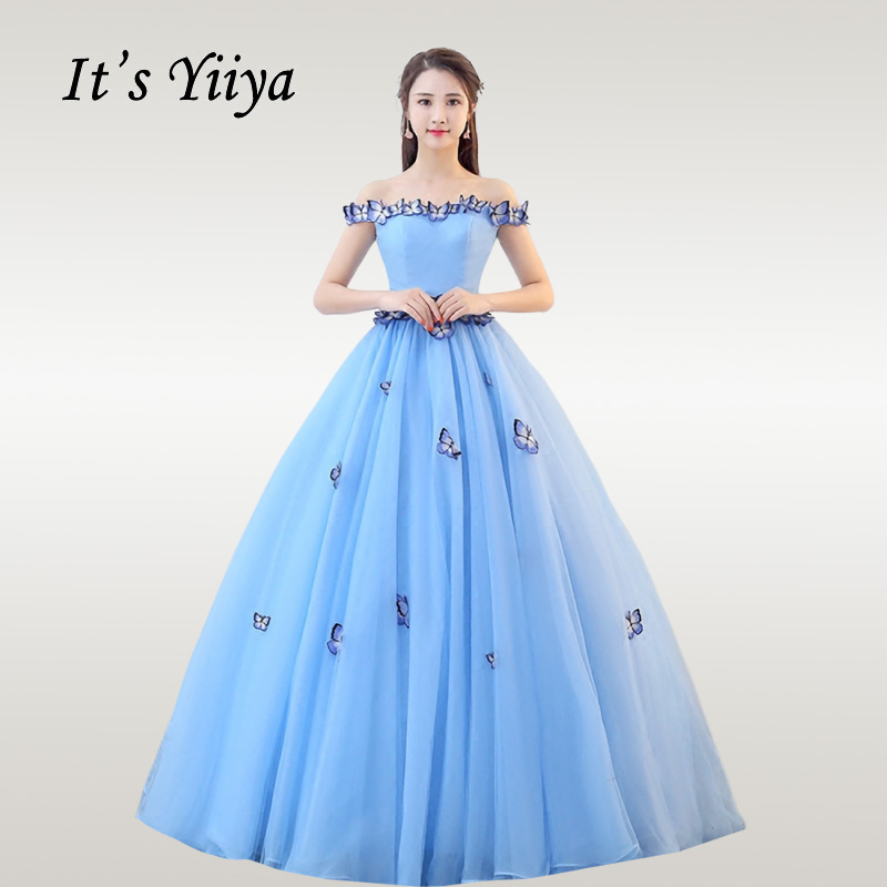 It's YiiYa Wedding Dress Elegant Appliques Boat Neck Blue Wedding Dresses Plus Size Boat Neck Off Shoulder Robe De Mariee CH087