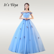 Its YiiYa Wedding Dress Elegant Appliques Boat Neck Blue Dresses Plus Size Off Shoulder Robe De Mariee CH087