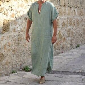 Image 4 - Incerun男性ローブカフタンイスラム教徒アラブイスラムvネック半袖固体cottonthobeヴィンテージ部屋着プラスサイズアラビア男アバヤ
