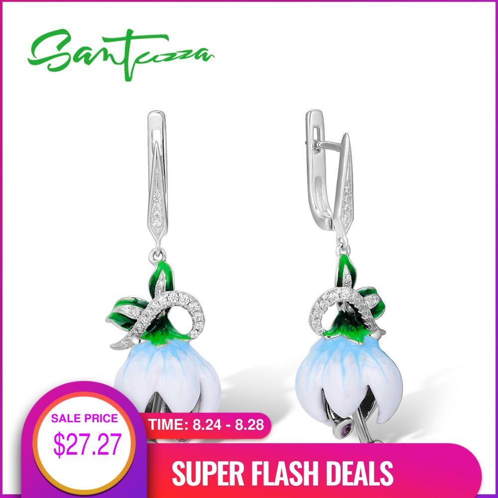 SANTUZZA Silver Earrings For Women Genuine 925 Sterling Silver Exquisite White Blooming Flower Fine Jewelry Handmade Enamel
