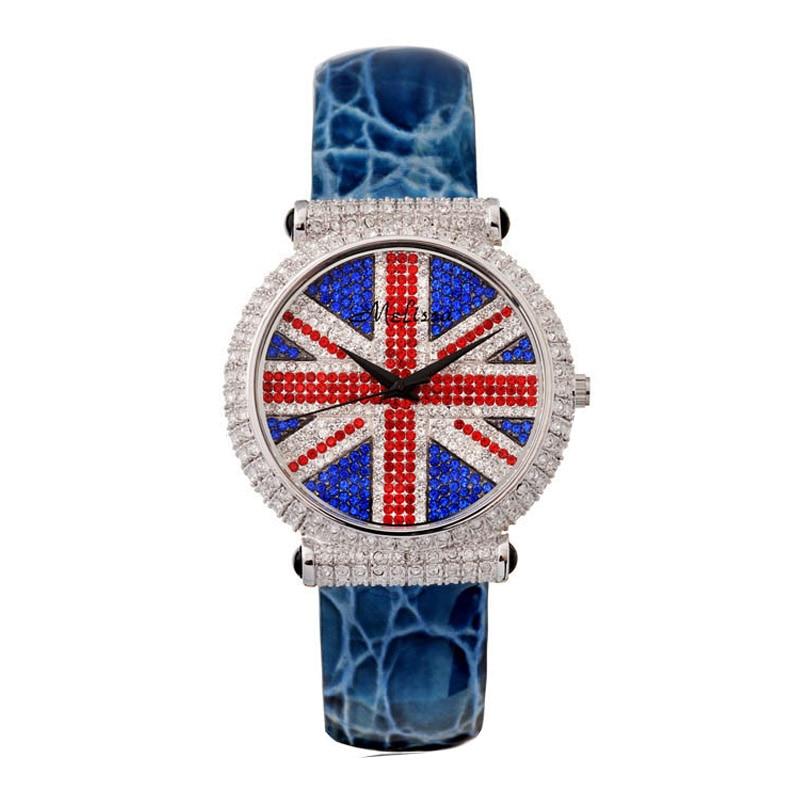 Feminino de Luxo da União Relógio de Cristal Pulseira de Couro Relógio de Aniversário da Menina Caixa de Presente Relógio Melissa Strass Moda Hora