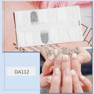 Image 4 - 14tips/sheet Colorful Shinny Full Nail Art Tips DIY Adhesive Wraps Waterproof Nail Stickers Decorations Manicure Drop Shipping