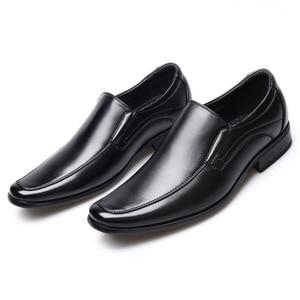 Image 4 - الأعمال الكلاسيكية الرجال اللباس الأحذية أزياء أنيقة الرسمي الزفاف أحذية الرجال الانزلاق على مكتب أكسفورد أحذية للرجال أسود b1375