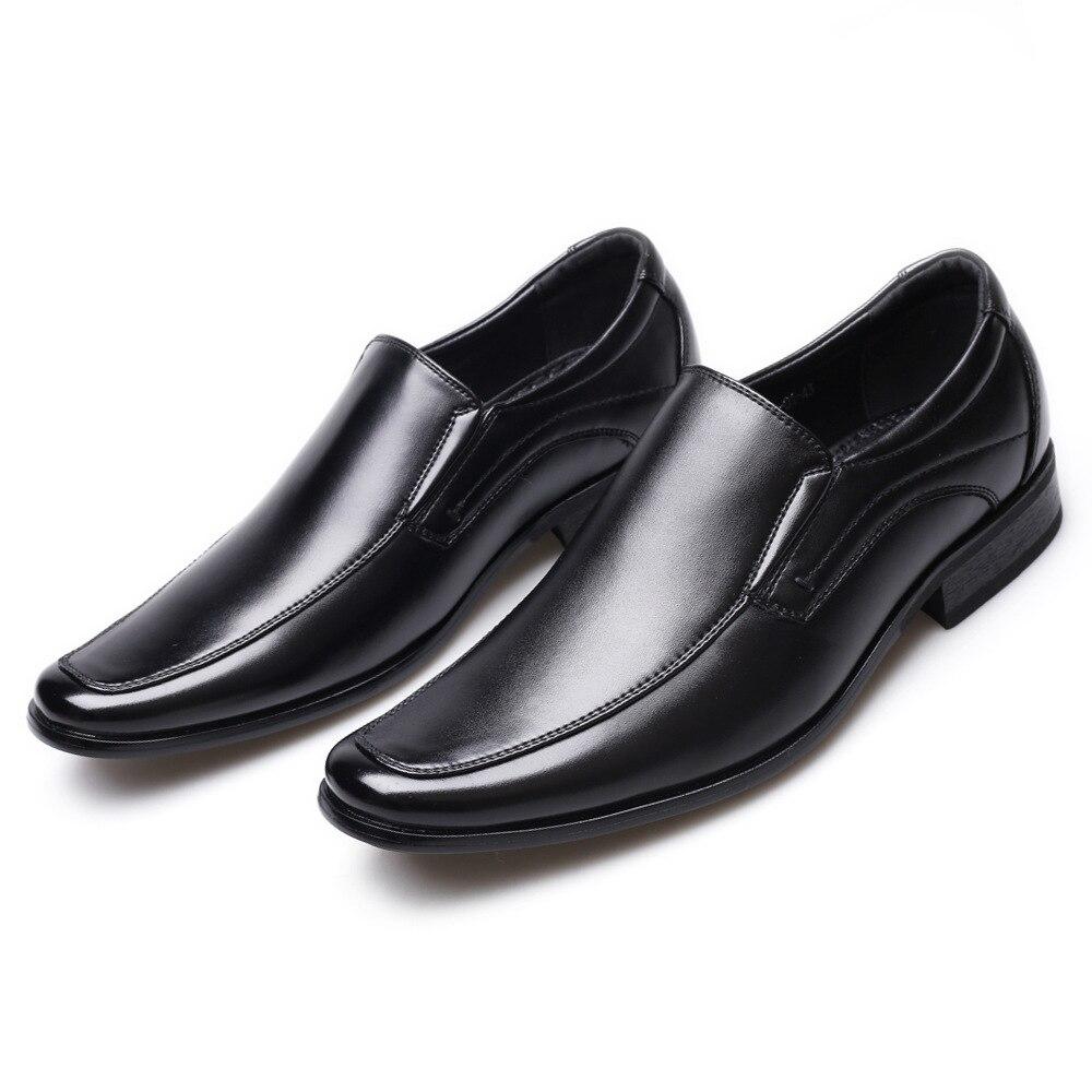 Image 4 - Klasyczny biznes męskie buty sukienka mody elegancki formalne buty ślubne mężczyźni poślizgu na biurowe Oxford buty dla mężczyzn czarny b1375Buty wizytowe   -